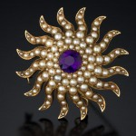 """Amethyst and pearl """"Sun"""" brooch/pendant. Gold, Victorian. 2.5""""."""
